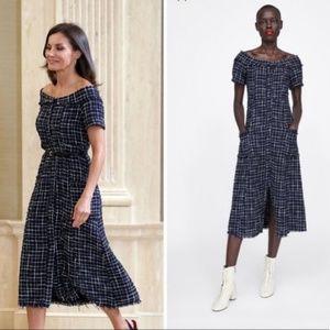 Zara Tweed Midi Dress with Gemstone Button /mz